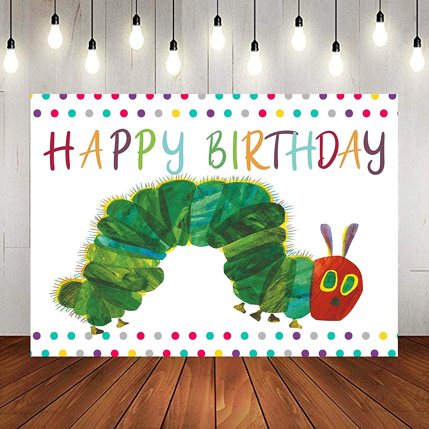 Happy Birthday Photography Backdrop for Caterpillar Theme Party, 9x6FT, Rainbow Color Insect Cartoon Kids Boy Girl Cake Table Banner Background, Photo Booth Studio Props LYLU983