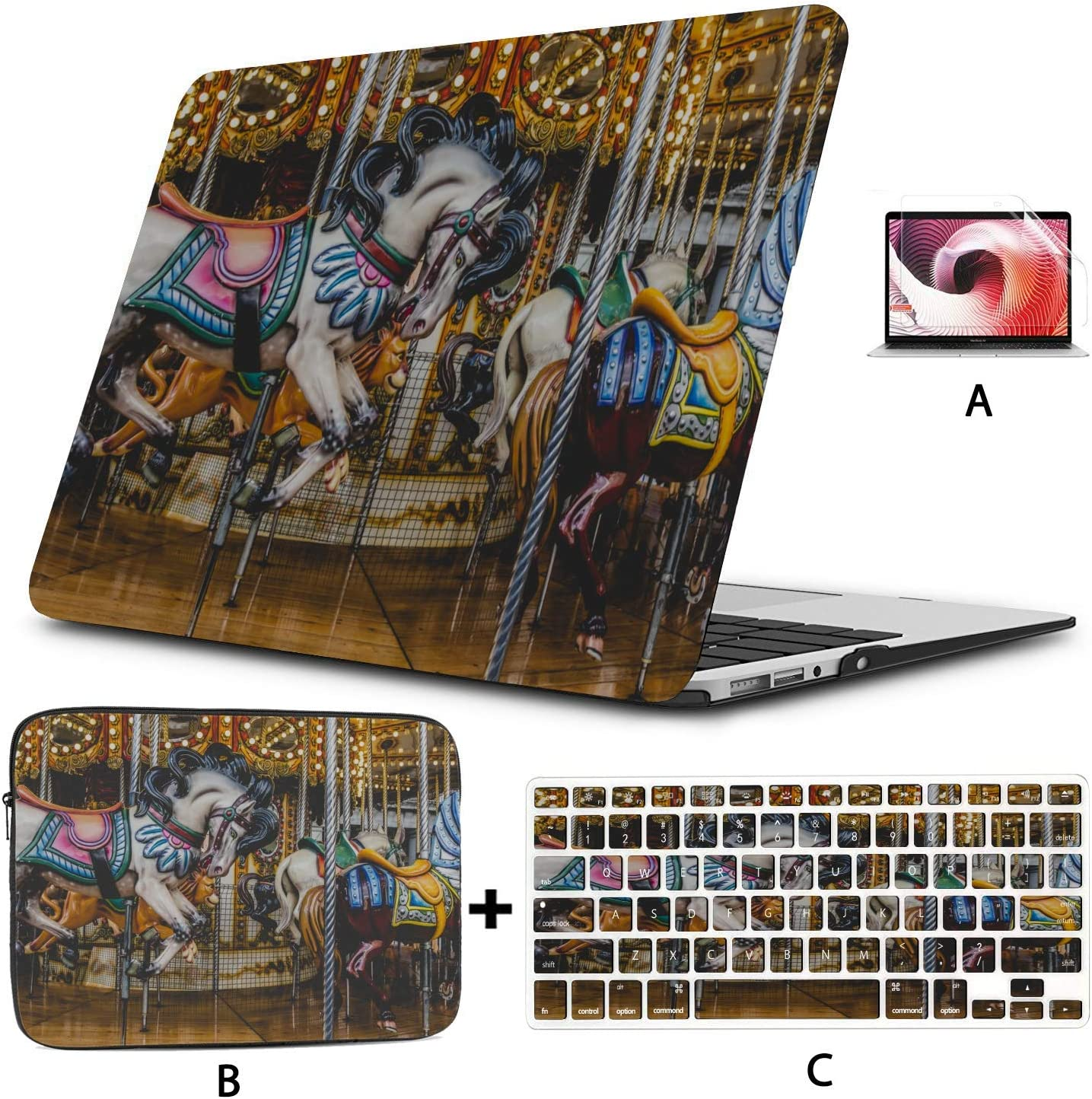 Mac Computer Cover Merry-go-Round Wooden Horses Cover for MacBook Air Hard Shell Mac Air 11//13 Pro 13//15//16 with Notebook Sleeve Bag for MacBook 2008-2020 Version