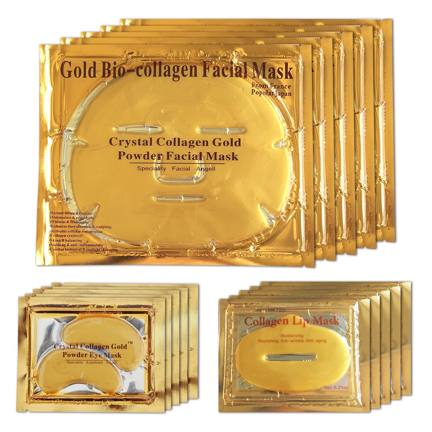 24K Gold Bio Collagen Crystal Face Mask + Eye Mask + Lip Mask, Anti ageing Skin Care (5pairs/set) LeSB
