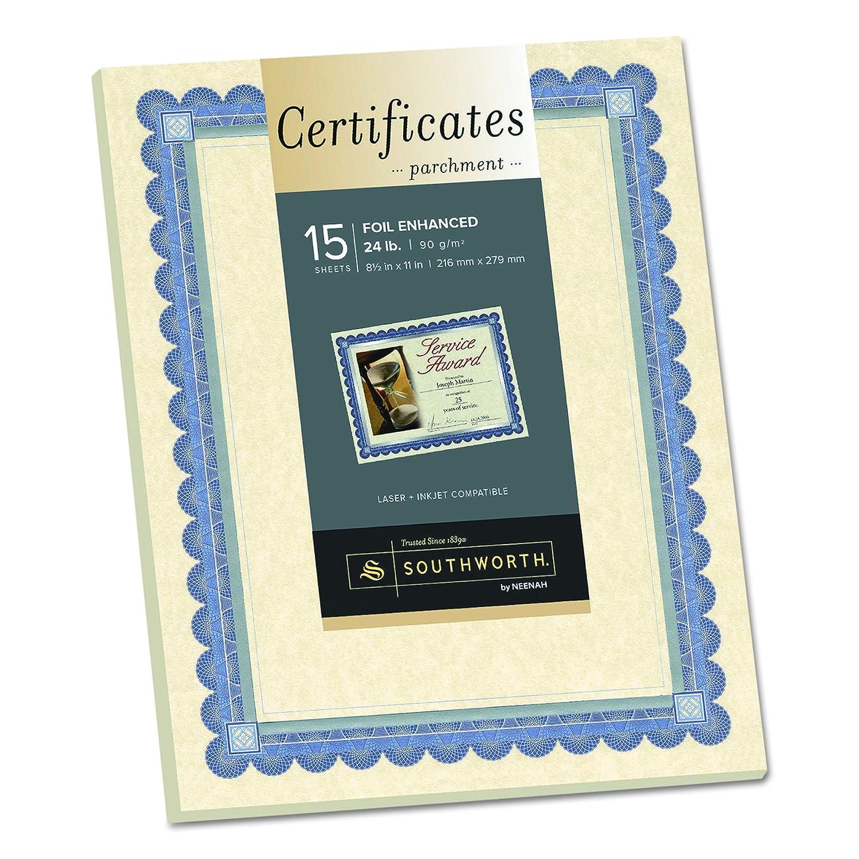 Amazon southworth ivory parchment foil enhanced certificates amazon southworth ivory parchment foil enhanced certificates 85 x 11 inches blue ink and silver foil border 15 count ct1r parchment paper xflitez Image collections