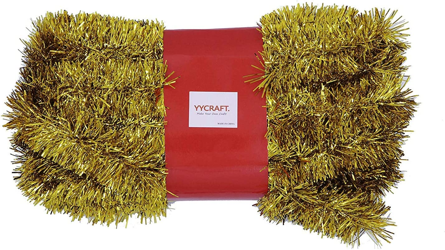 YYCRAFT 10 Yards (30 Feet) Commercial Length Thick Foil Tinsel Christmas Garland Classic Christmas Decorations, Gold