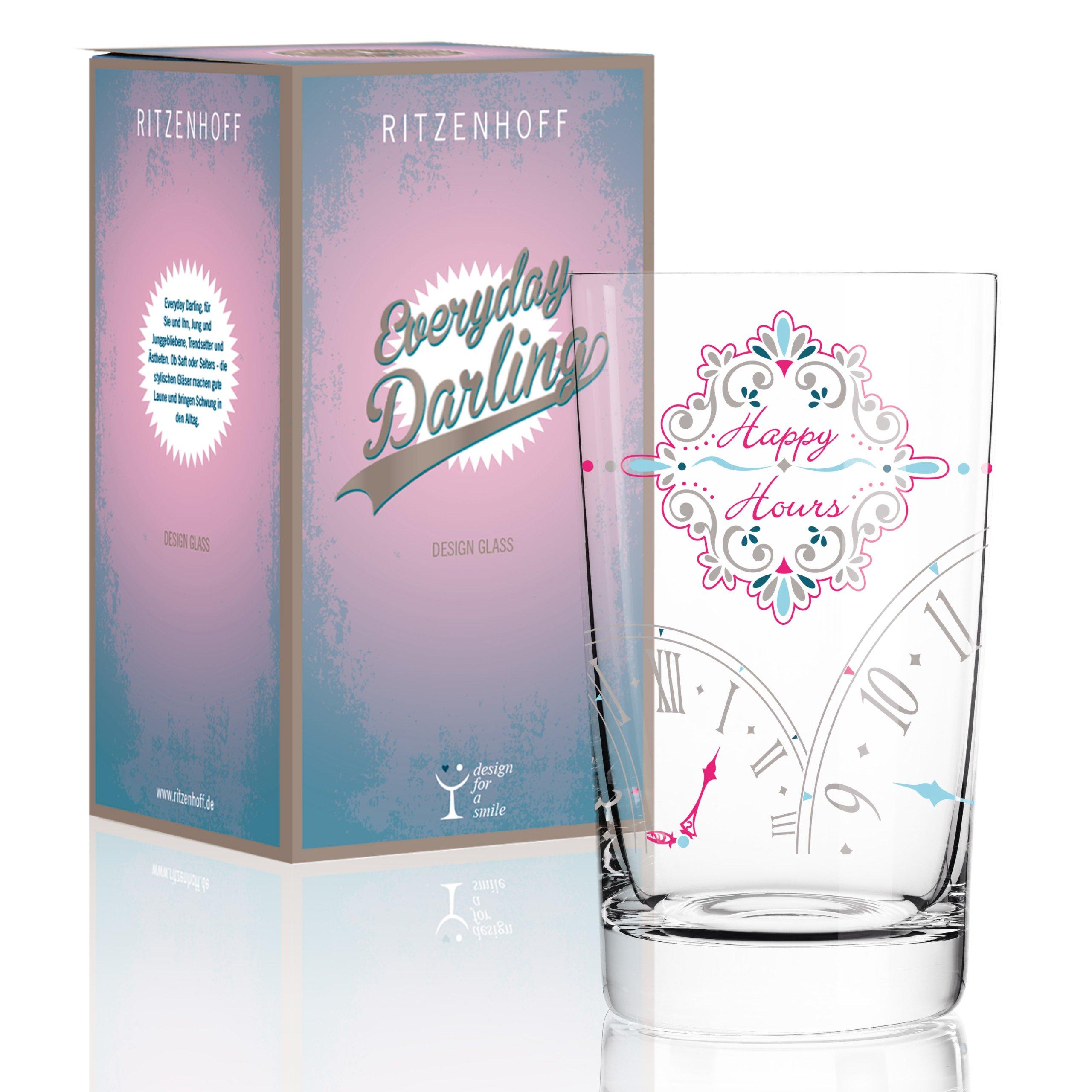 Ritzenhoff Everyday Darling Softdrinkglas, Crystal, grau/rosa/Petrol, 7.3 x 7.3 x 12.7 cm