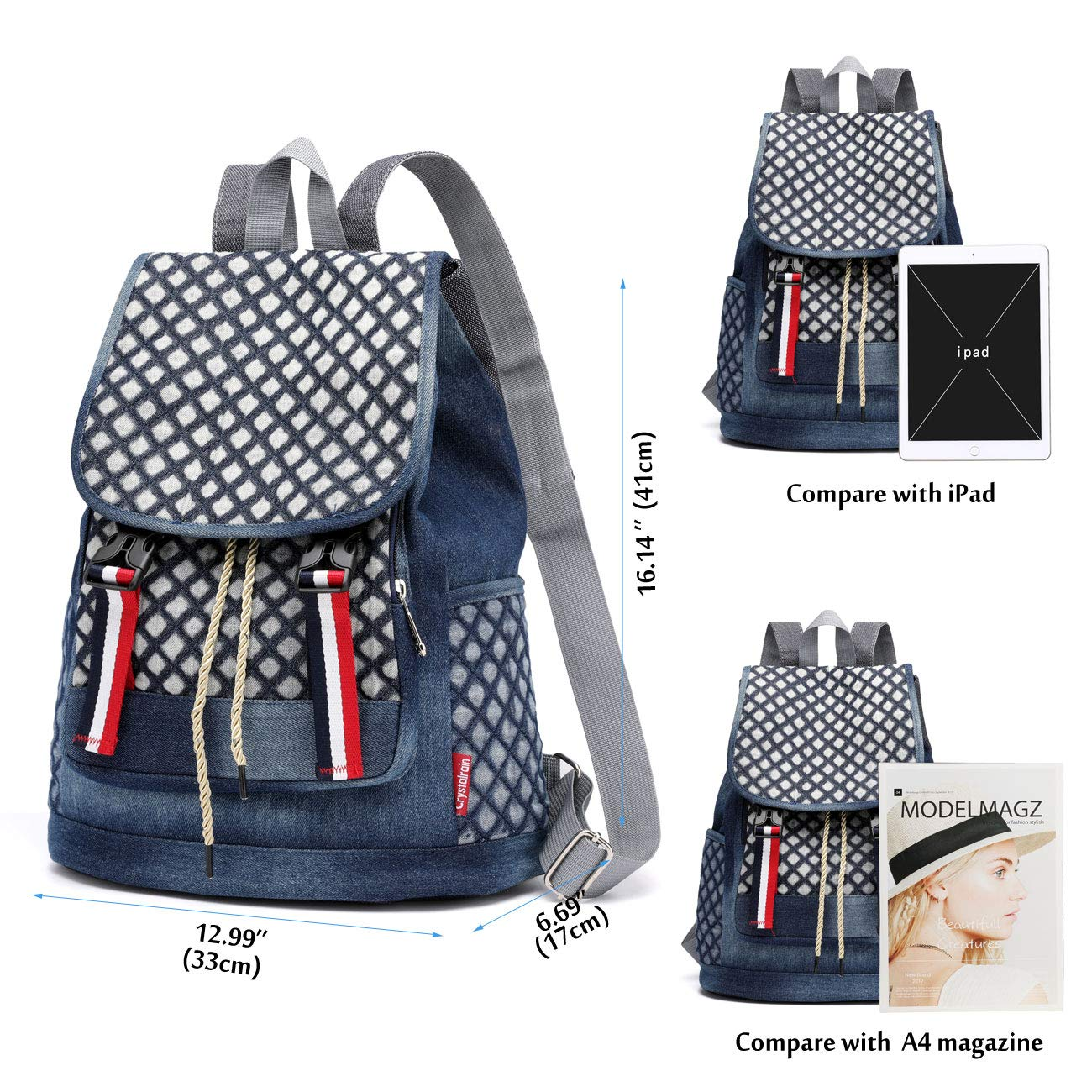 Amazon.com: Denim School Backpack for Teen Girls Kids Xuanber Cute Bookbag Elementary Middle Student Rucksack Slim Small Jeans Bag Purse Women Daypack ...