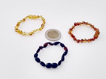 c963d18699a Lot de 3 authentique en ambre Bracelets Cheville 14 cm Baroque Miel Cerise  grains Baroque Cognac