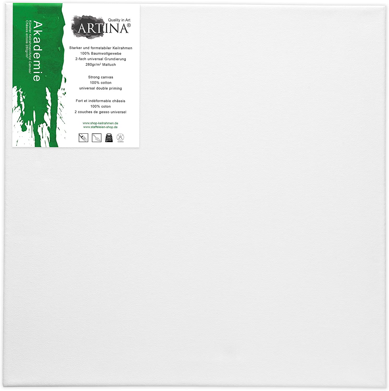 70x100 cm con Bastidor 280g//m/² Set de 5 Piezas Lienzos Blancos para Pintar Artina Akademie