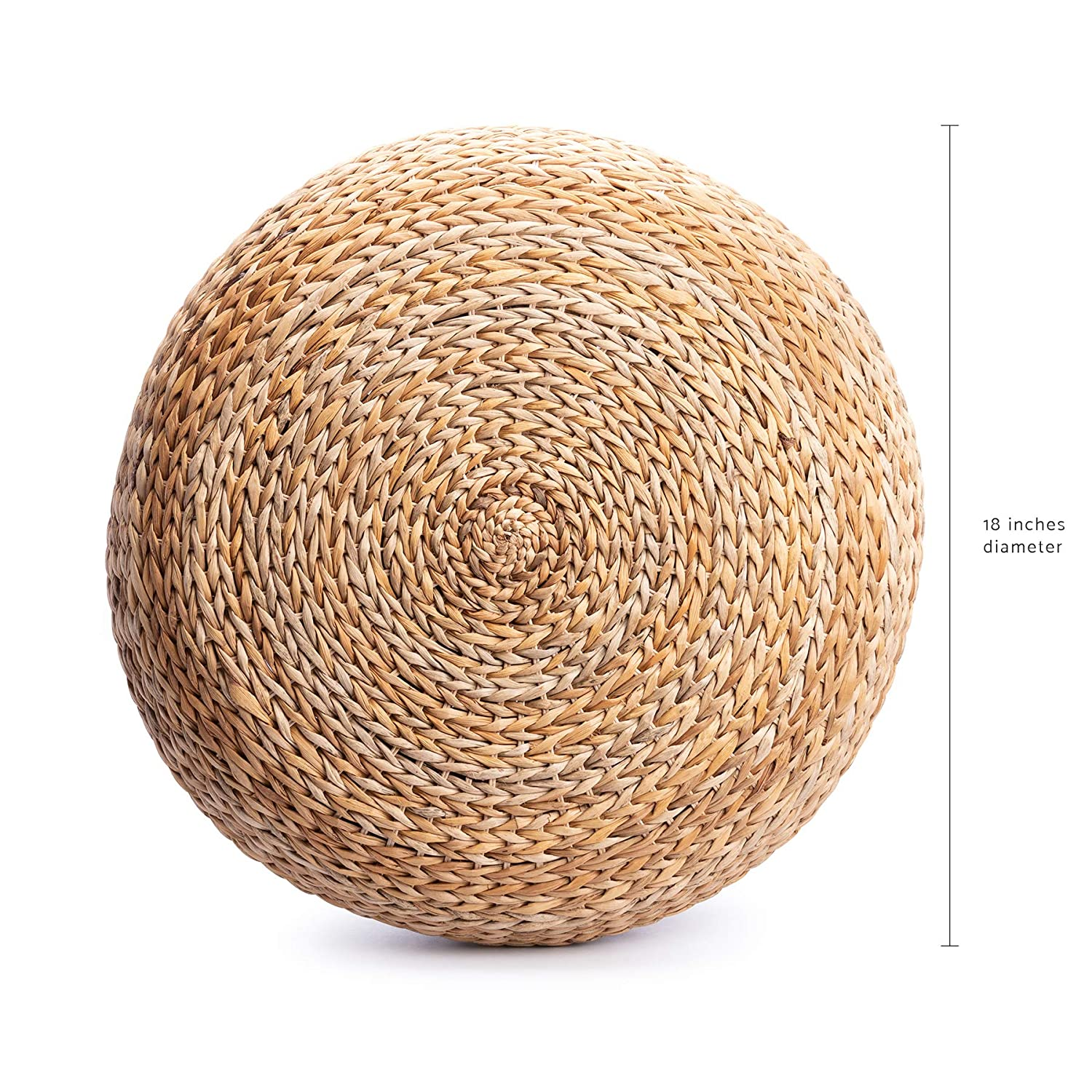 Round Pillow 18 inches Housewarming Summer Japanese Style Present for Her Outdoor Room Decor Natural Rattan Stool Ottoman Handwoven Banana Leaves Decorative Foot Rest Gift for Women