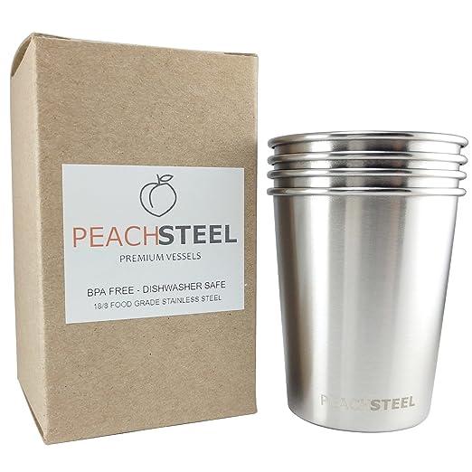 peachsteel - Vasos de petaca de acero inoxidable (4 unidades ...