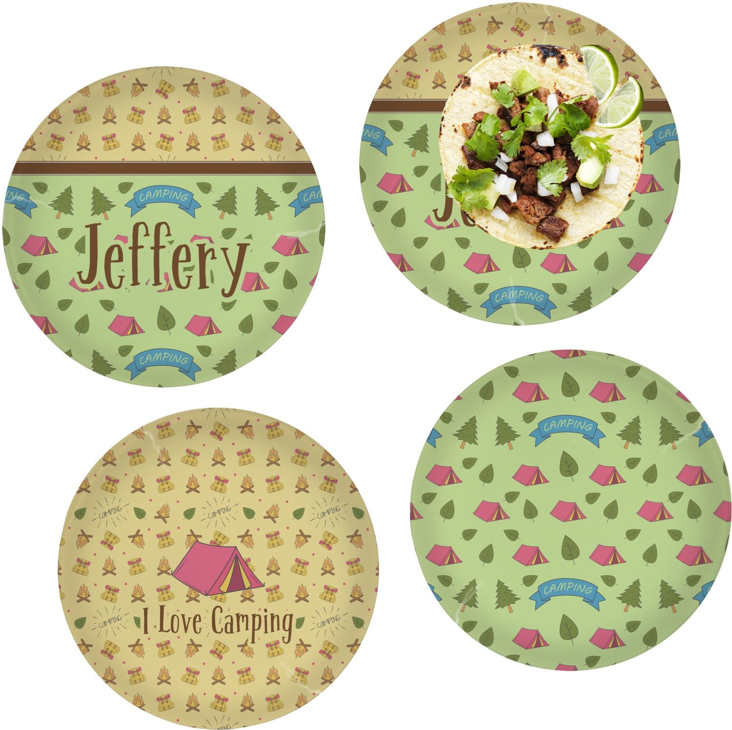 Summer Camping Set of 4 Lunch / Dinner Plates (Glass) (Personalized)