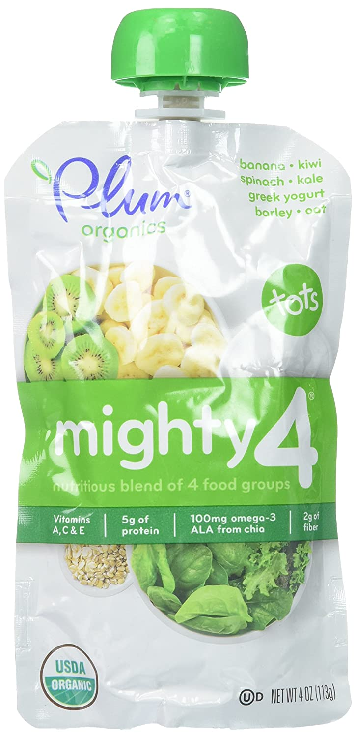 Plum Organics Tots Mighty 4 Toddler Food, Banana, Kiwi, Spinach, Kale, Greek Yogurt, Barley and Oat, 4 Ounce (Pack of 6)