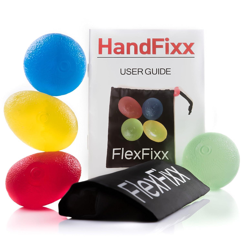 FlexFixx Eiförmige Griffbälle Handtrainer + Zubehör - 4er Set für schnelle Erfolge - Handgymnastik Handmuskeltrainer für Damen & Herren - Unterarmtrainer + Fingertrainer FF005EU