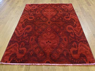 "4'2"" x6'4 Hand Knotted Red Cast Ikat Overdyed Pure Wool Oriental Rug G35411"