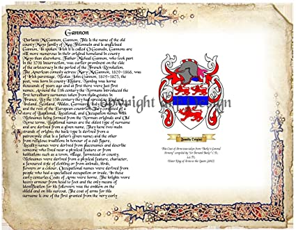 Amazon Gannon Coat Of Arms Family Crest On Fine Paper And