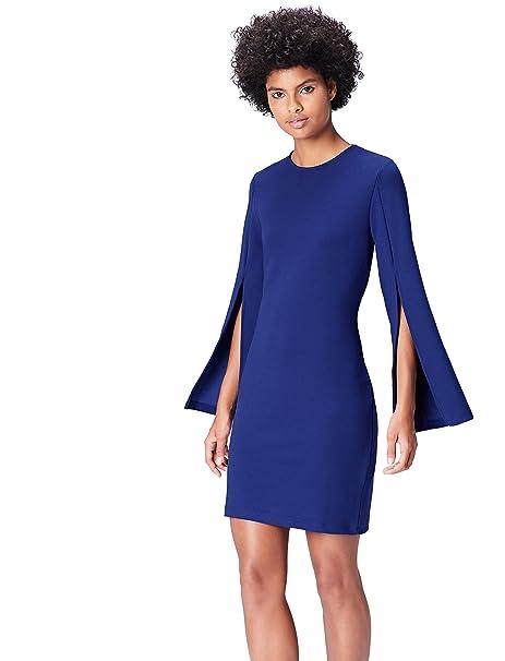 FIND Vestido de Manga Abierta para Mujer, Azul (Blau), 36 (Talla