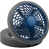 "O2COOL 5"" Portable USB or Electric Fan, Blue/Gray"