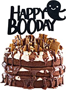 Happy Boo Day Cake Topper, Black Glitter Halloween Birthday Cake Topper, Here for the Boos Decorations, Ghost Decorations, Halloween Birthday Party Decorations