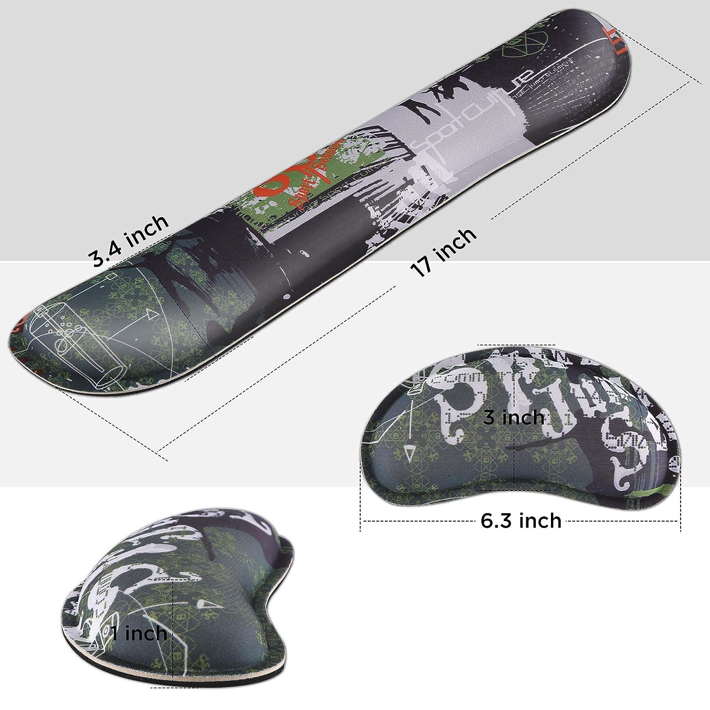 Gimars Cuscini Poggiapolsi per Mouse e Tastiera Sollievo dal Dolore//Mouse Pad Antiscivolo Durevole e Comodo//Lycra Tessuto Memory Foam Design Ergonomico