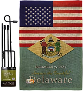 States US Delaware Burlap Garden Flag Set with Stand Regional USA American Territories Republic Country Particular Area Small Decorative Gift Yard House Banner Double-Sided Made in 13 X 18.5