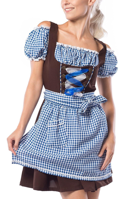 Partychimp Damen Dirndl Anne-Ruth Blau / Braun mit einer Bluße und Schürze, größe 36-48