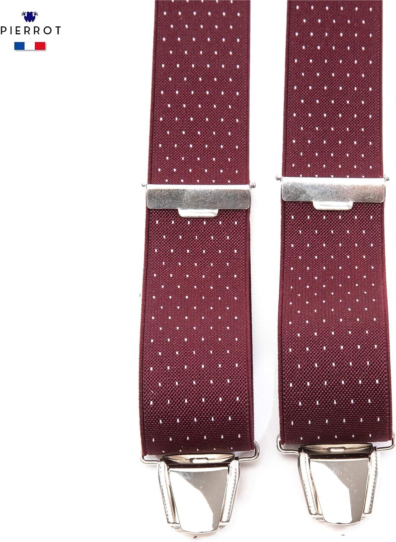PIERROT Fatto in Francia Taglia Unica Regolabile Fino a 130 CM Bretelle Uomo Eleganti 29 Colori Prima Qualit/à Extra Forte Clip