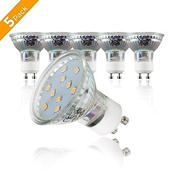 5 x 3 W Bombillas LED GU10 Ø 50 mm, Color de la luz blanco cálido 3000K, Foco LED 230 V: Amazon.es: Iluminación