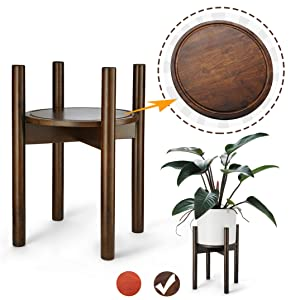 LITADA Wood Plant Stand Mid Century Planter Stand with Plant Saucer, 16'' Tall - Fit 10 '' Flower Pot, Wood Flower Pot Holder Home Decor - Walnut Color (Plant and Pot NOT Included)
