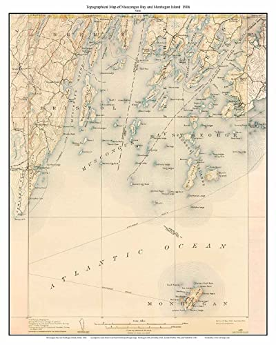 Topo Map Of Maine.Amazon Com Monhegan Maine 1906 Old Usgs Topo Map Custom Reprint