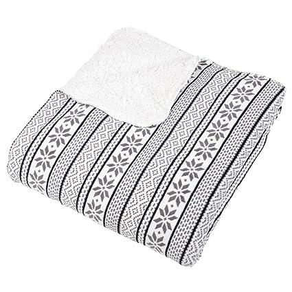 White / Grey Fairisle Fleece Blanket Soft Sherpa Home Sofa Bed ...