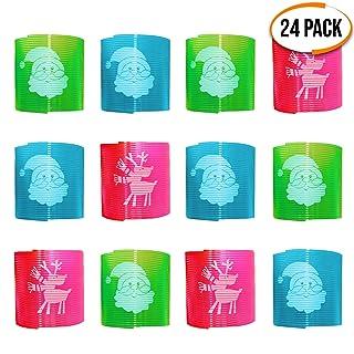 The Twiddlers 24 Slinky Molla Giocattolo a Tema Natalizio in 3 Colori - 2 Diversi Disegni di Natale - Regalo Ideale per riempire i Sacchetti per regalini fine Festa Bambini, Party Bags