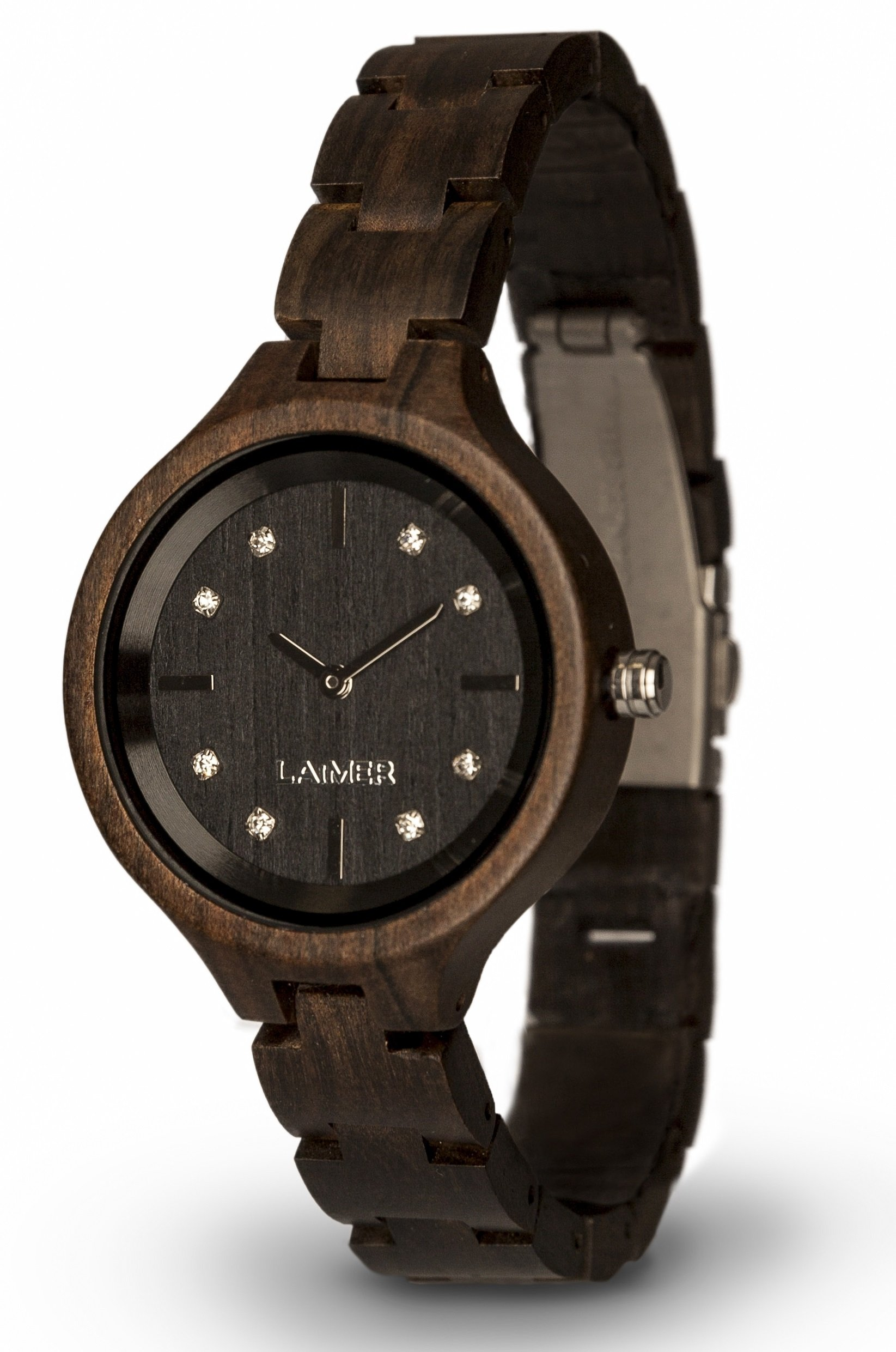 LAiMER Women's Wooden Watch MARIA DARK - Wrist Watch made of natural Maple Wood refined with Swarovski Crystals - Nature & Luxury