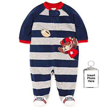 Little Me Winter Fleece Baby Pajamas with Feet Blanket Sleeper Footie Navy Grey Stripe Bear 12