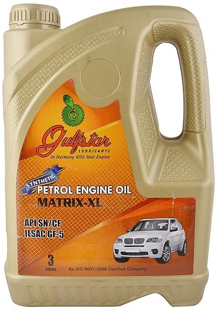 Gulfstar Matrix XL 5W-40 API SN Fully Synthetic Petrol Engine Oil for  Modern Cars (3 L)