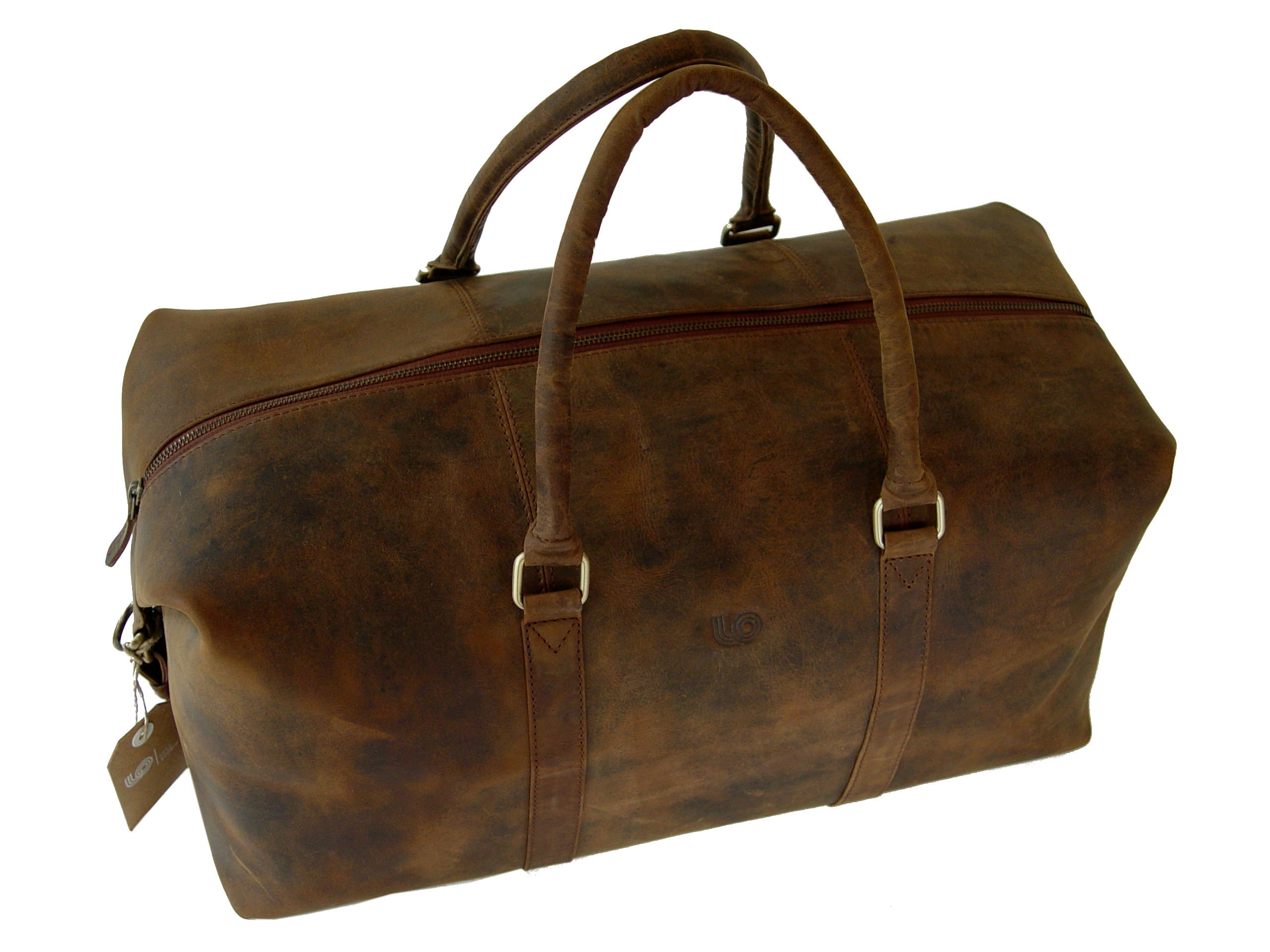 LeftOver Studio Expandable Weekend Overnight Travel Duffel Bag in Thick Oil Pull Hunter Water Buffalo Leather by Leftover Studio (Image #3)