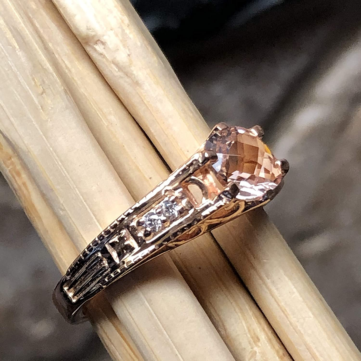 Natural 1ct Peach Morganite 14k Rose Gold Over Sterling Silver Engagement Ring Size 6 7.25 7 9 8
