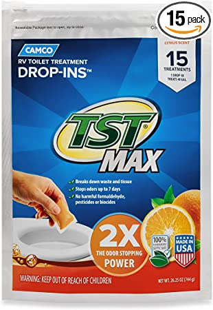Amazon Com Camco Tst Ultra Concentrated Orange Citrus Scent Rv Toilet Treatment Drop Ins Formaldehyde Free Breaks Down Waste And Tissue Septic Tank Safe 15 Pack 41189 Automotive