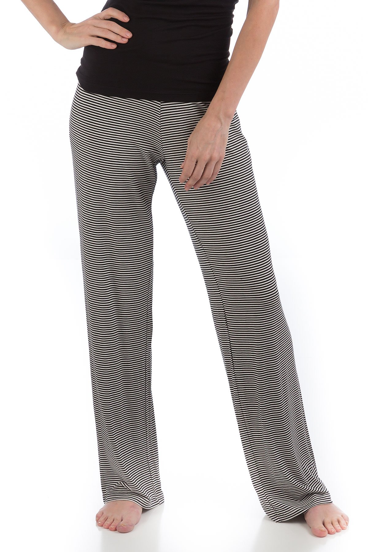 LLP212 Medium Black Micro Stripe BambooDreams Lily Lounge Pants.