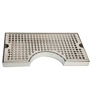 """YaeBrew 12"""" Surface Mount Kegerator Beer Drip Tray Stainless Steel Tower Cut Out No Drain"""