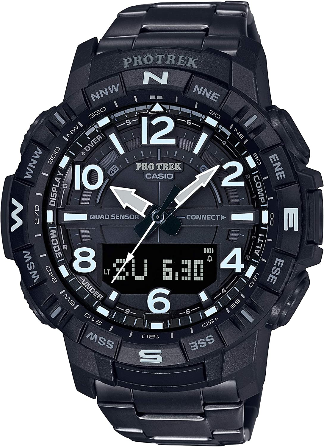 Casio Men s Pro Trek Bluetooth Connected Quartz Fitness Watch with Titanium Strap, Black, 23 Model PRT-B50YT-1CR