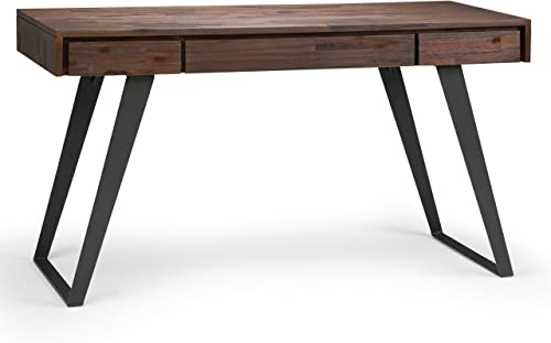 Simpli Home AXCLRY-14 Lowry Solid Acacia Wood Modern Industrial 54 inch Wide Writing Office Desk in Distressed Charcoal Brown