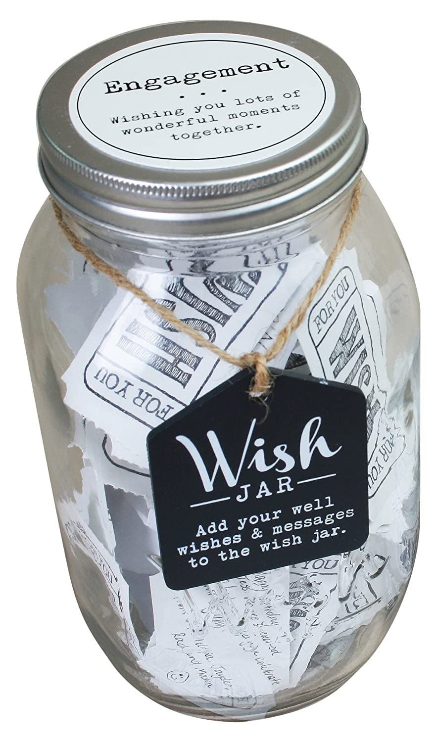 Top Shelf Engagement Wish Jar, Kit Comes with 100 Tickets & Decorative Lid CKK Home Décor TS-WJ006
