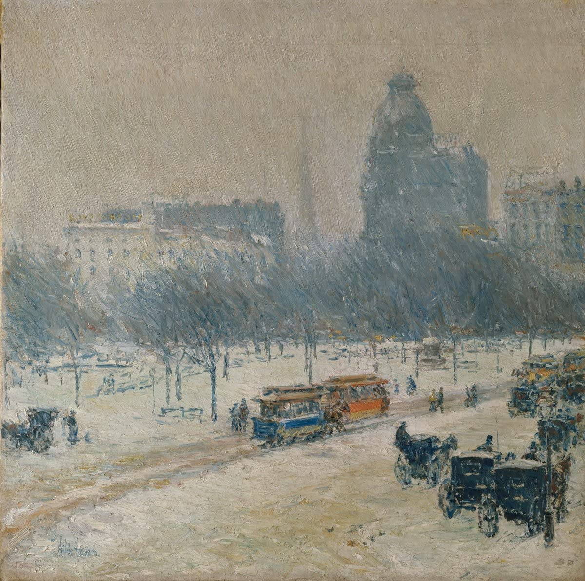 Winter in Union Square by Childe Hassam Giclee Fine ArtPrint Repro on Canvas