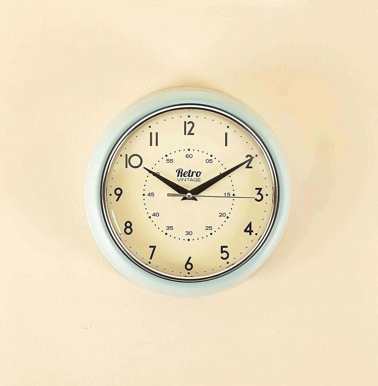 shabby chic retro style kitchen wall clock blue