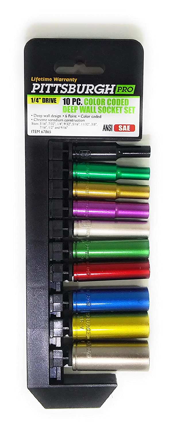 Pittsburgh 1//4 SAE//METRIC Deep Wall Color Coded Socket Sets With Composite Ratchet BUNDLE