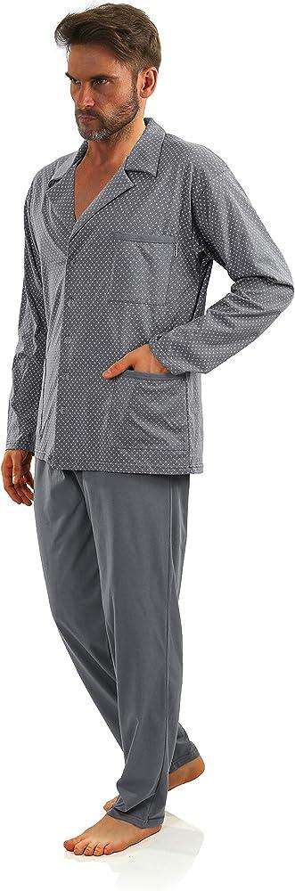 Sesto Senso® Pijama Hombre Botones 100% Algodon Abotonado Clasico Invierno 2 Piezas Set Ropa De Dormir Conjunto Set Camisa Manga Larga Pantalones Largos (M kotwice Grafit): Amazon.es: Ropa y accesorios