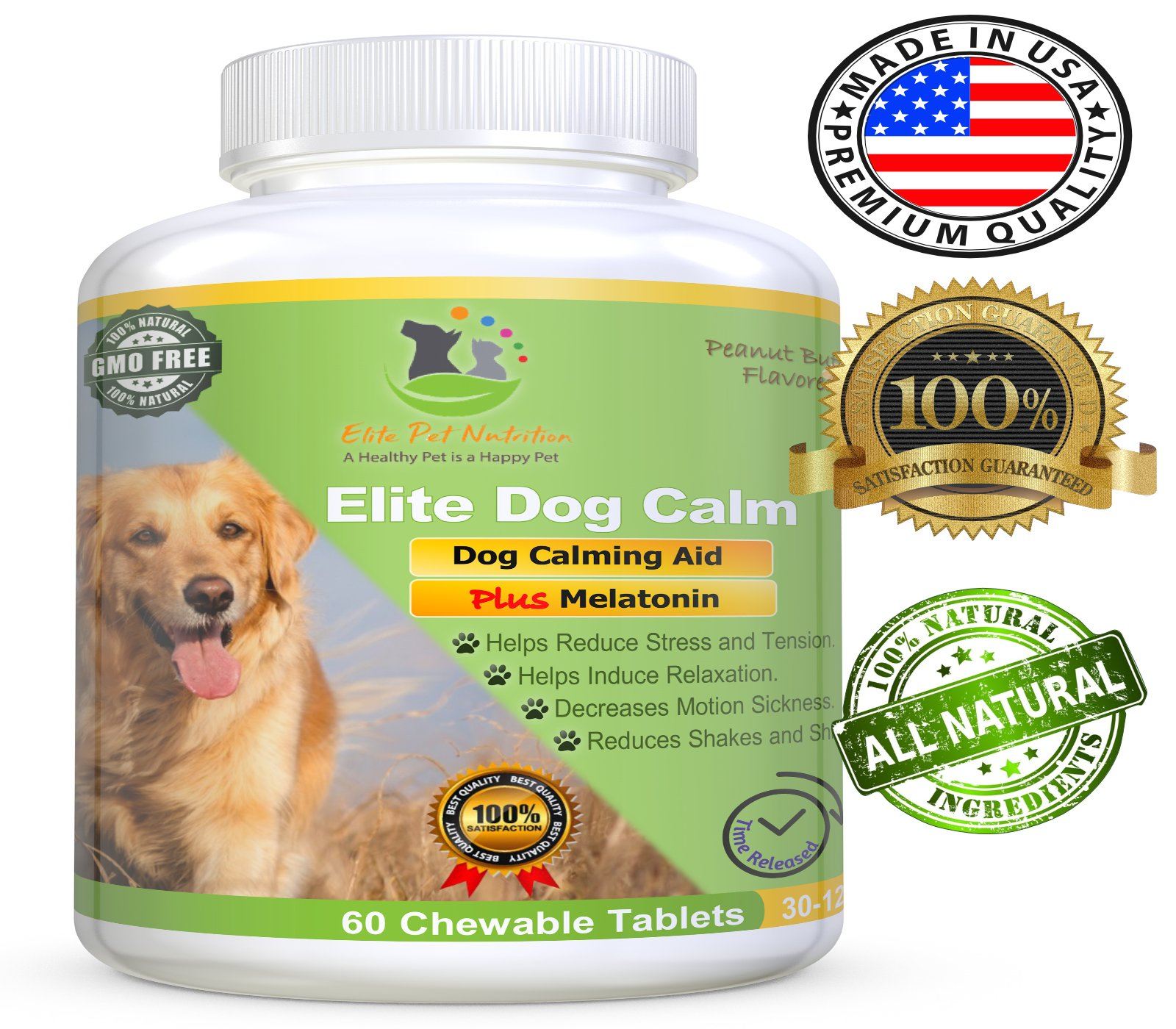 Elite Dog Calm, Advanced All Natural Calming Aid Relaxant for Dogs Relieves Separation Anxiety, & Stress Made In USA 60 Chewable Tablets