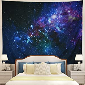 Tushelia Starry Sky Tapestry Galaxy Tapestry Outer Space Tapestry Moon Star in Starry Night Tapestry Wall Hanging Universe Psychedelic Tapestry for Living Room Bedroom Home Decor