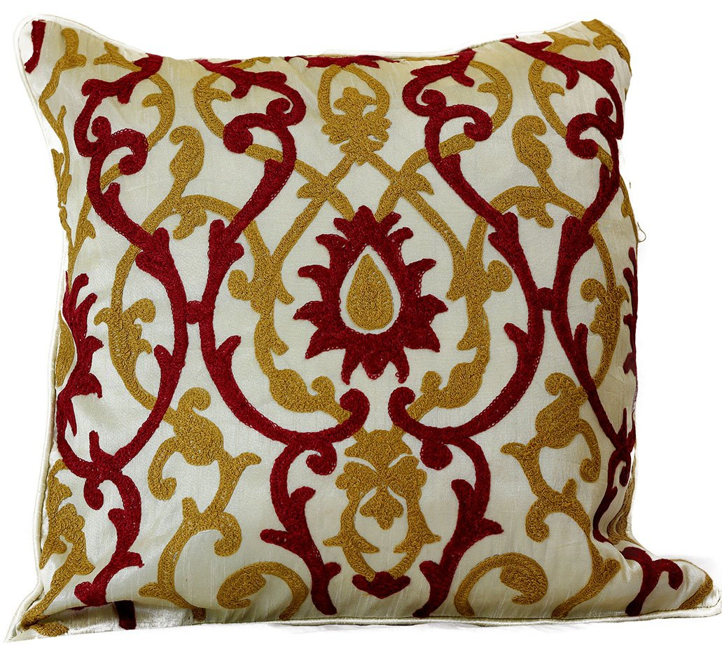 "Jacquard Damask Pillow Covers, 18"" X 18"", Set of 2 (Red"