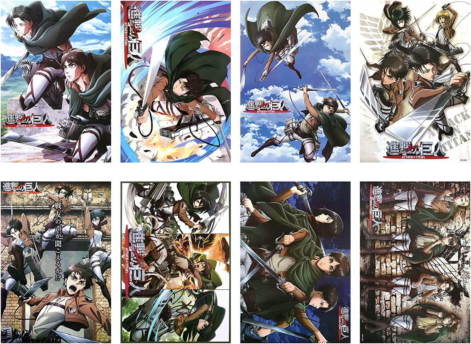 Attack On Titan Posters Japanese Anime Poster Art Prints for Home Wall Decor, Set of 8 PCS, 11.5in x16.5in