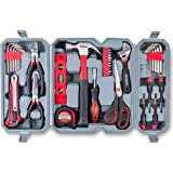 Hi-Spec 50 Piece Home Tool Set of Heavy Duty Hand Tools - Claw Hammer, Adjustable Wrench, Precision Screwdrivers, Screw Bits, Long Nose Pliers, Side Cutters, Torpedo Level, Bit Driver & Tool Box Kit