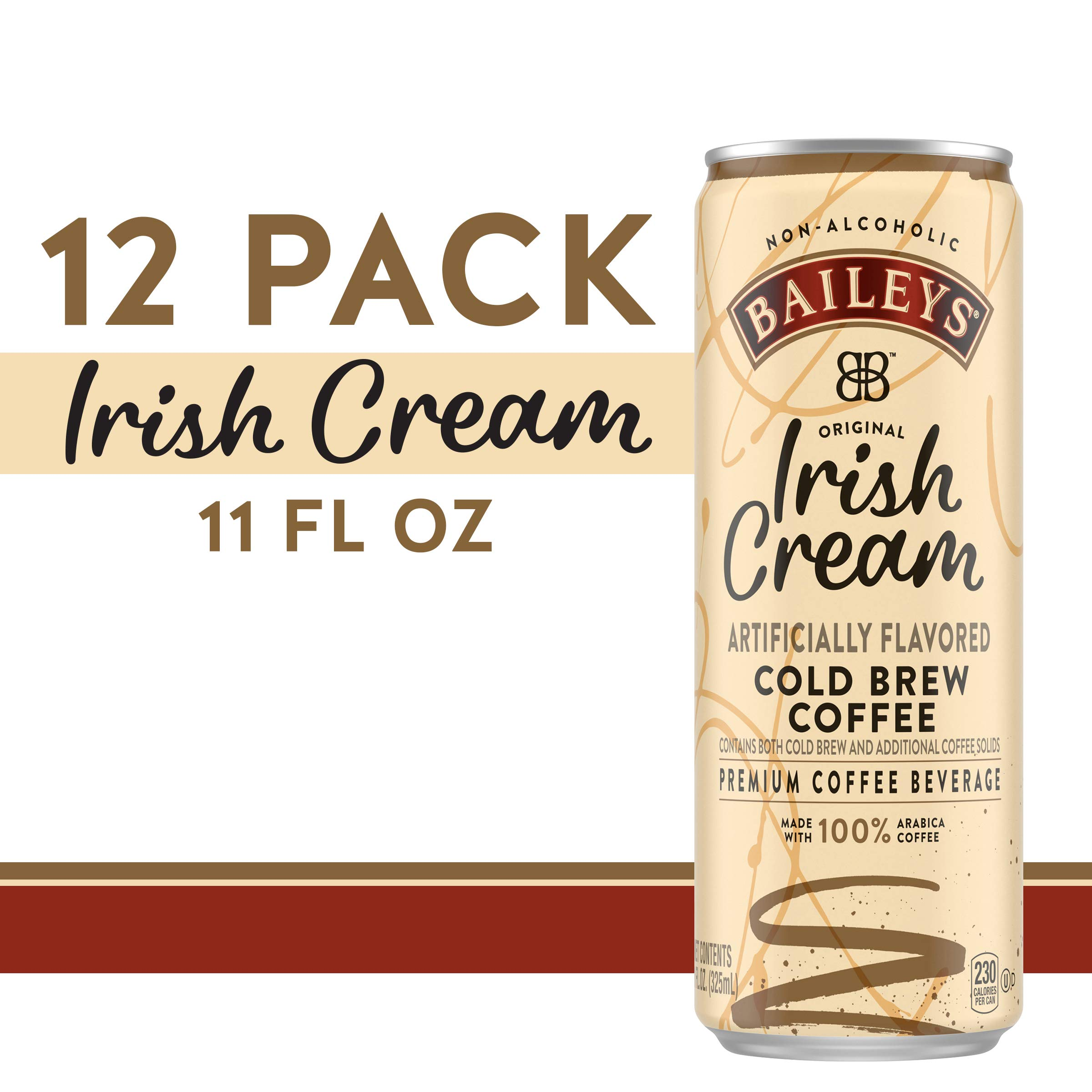 Baileys Non-Alcoholic Original Irish Cream Flavored Cold Brew Coffee, 11 fl oz can (Pack of 12) by BAILEYS