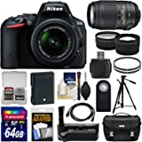Nikon D5500 Wi-Fi Digital SLR Camera & 18-55mm G VR DX II (Black) & 55-300mm VR Lens + 64GB Card + Battery + Grip + Case + Tripod + Tele/Wide Lens Kit